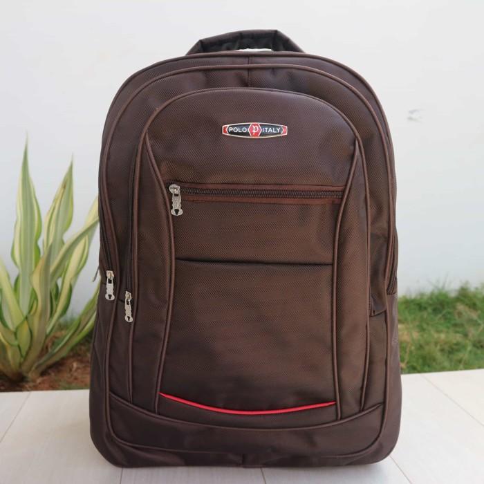 harga Jual tas ransel laptop murah polo coklat sekolah kuliah kerja kantor Tokopedia.com