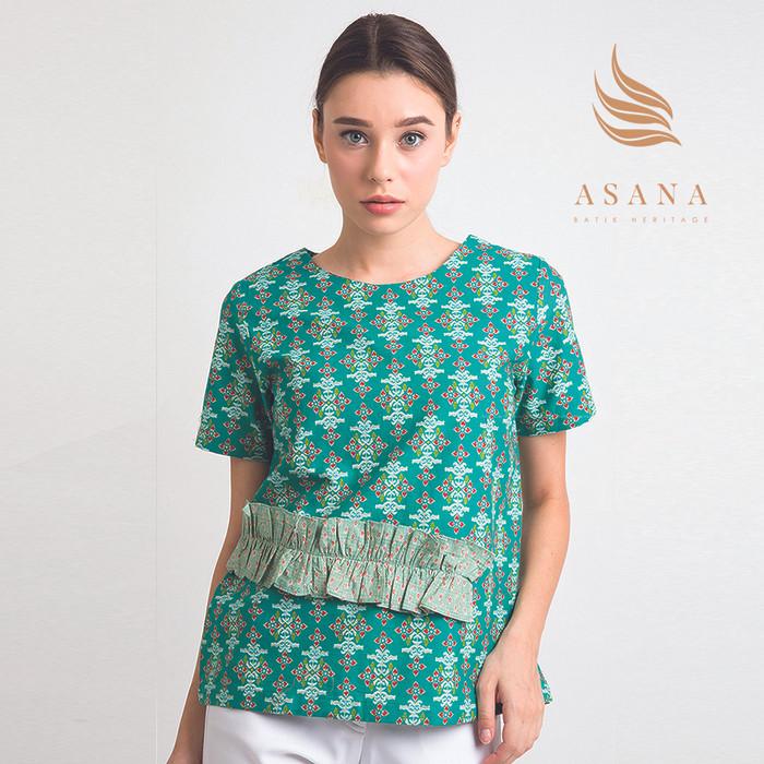 Asana arjasari woman blouse batik wanita - green - hijau muda m