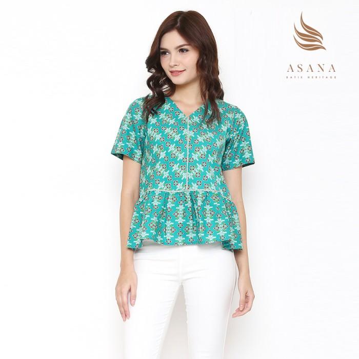 Asana arjasari woman blouse batik wanita - green - hijau muda xl