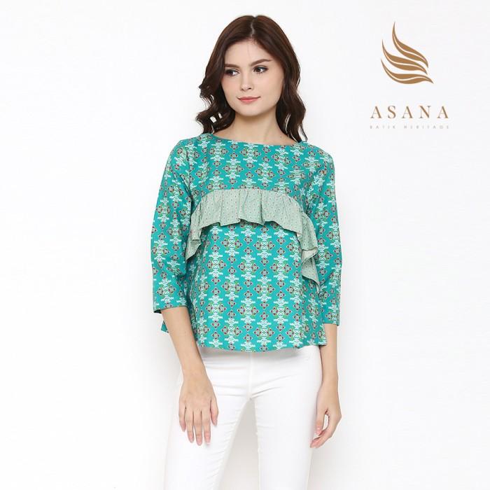 Asana arjasari woman blouse batik wanita - green - hijau muda l