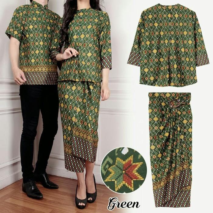 claudia rok lilit 3in1 kebaya green baju couple batik kode006020