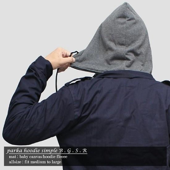 Jaket Parka cowo Canvas BGSR Pria Premium Navy Parka Hoodie Polos