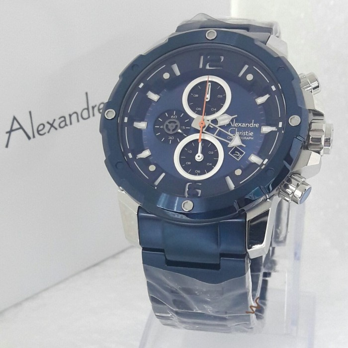 jam tangan pria alexandre christie AC 6410 MC blue silver