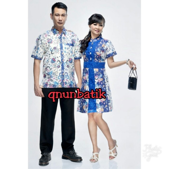 Sarimbit couple batik jumbo xl dress terusan wanita luna gentong biru
