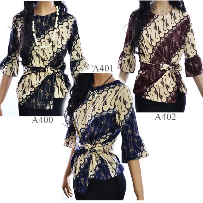 harga Kemeja blouse atasan batik blus a400a401a402 lengan 3/4 Tokopedia.com
