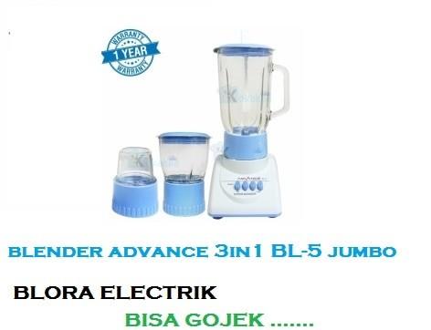 Advance blender jus 3 in 1 kaca bl-5- biru ukuran besar bisa gojek