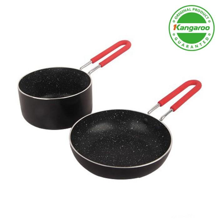 harga Kangaroo kg671 allu fry pan 2 set  wajan aluminium 14+12cm Tokopedia.com