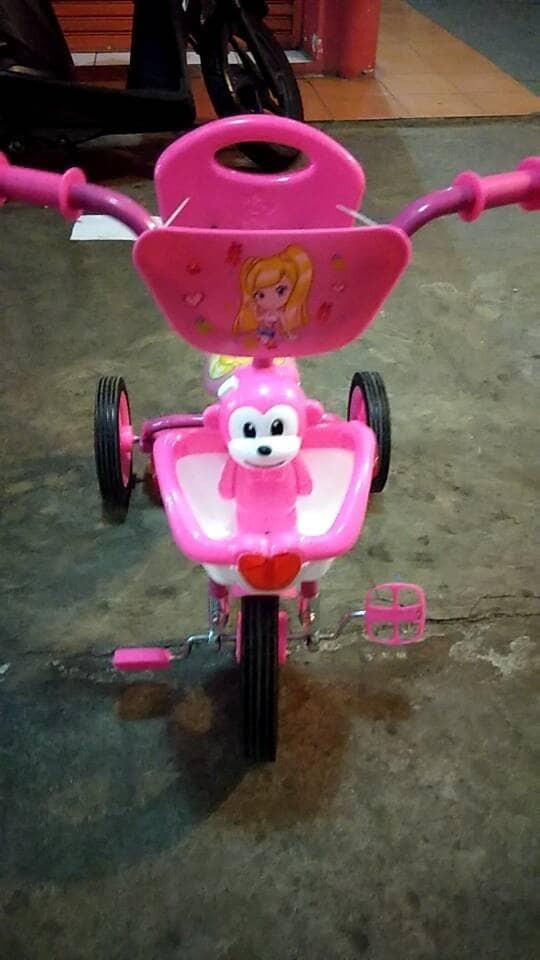 Jual Mainan Anak Sepeda Roda Tiga Senderan Keranjang Musik