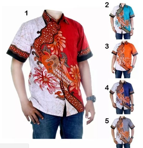 Baju atasan pria / hem / kemeja motif batik - birfan (ada 5 warna)