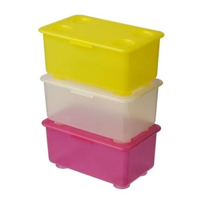 Ikea glis 3 pcs kotak + penutup - pink putih kuning
