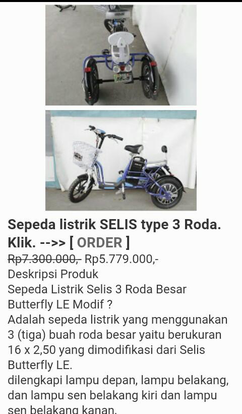 Jual Sepeda Listrik Selis Type 3 Roda Kota Yogyakarta Jr Spd Tokopedia