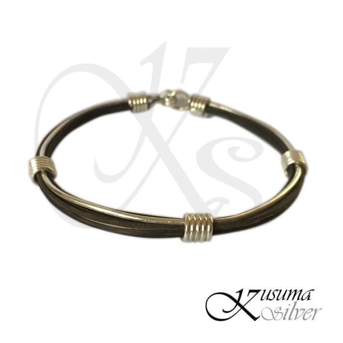 Foto Produk Gelang Bracelet Pria Laki  Cowok Perak Silver Bali Kulit Leather Polos dari Kusuma Silver