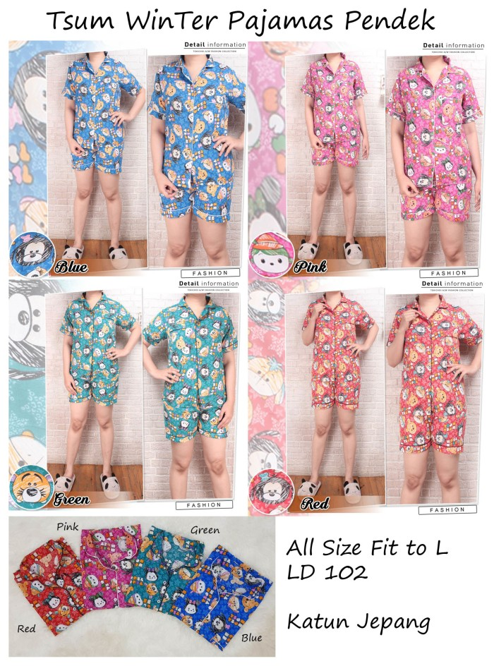 harga Tsum winn pajamas pendek piyama wanita dewasa celana panjang setelan b Tokopedia.com