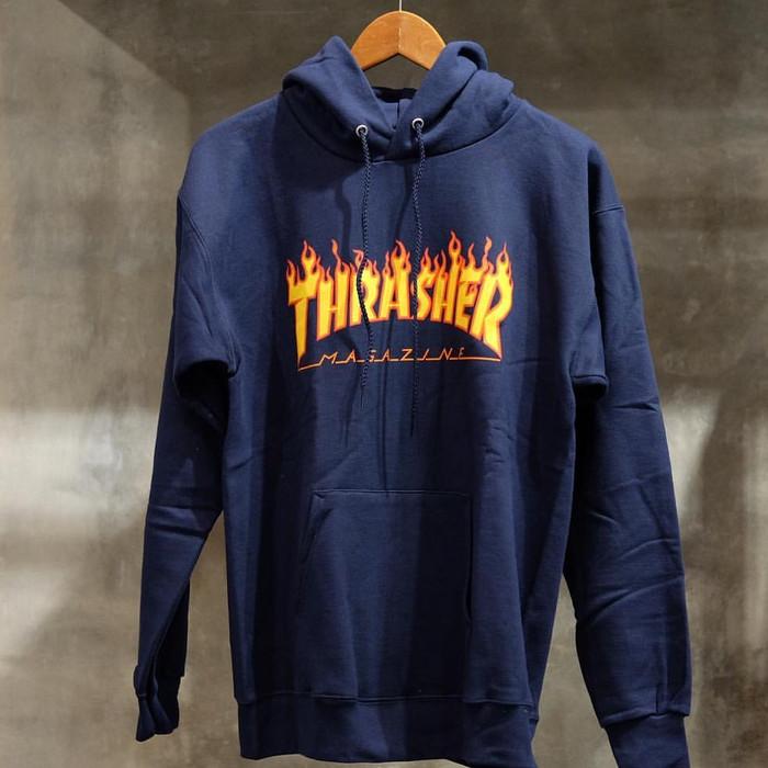 Jual thrasher flame hoodie Navy size M Original - alltime favorite ... 6582c0a39c9