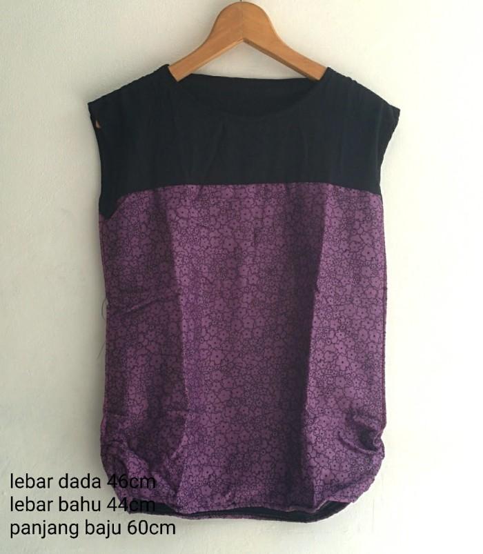 Foto Produk SALE . BLOUSE WANITA SIMPLE CASUAL CORAK UNGU TEBAL  dari KPStore Fashion Online
