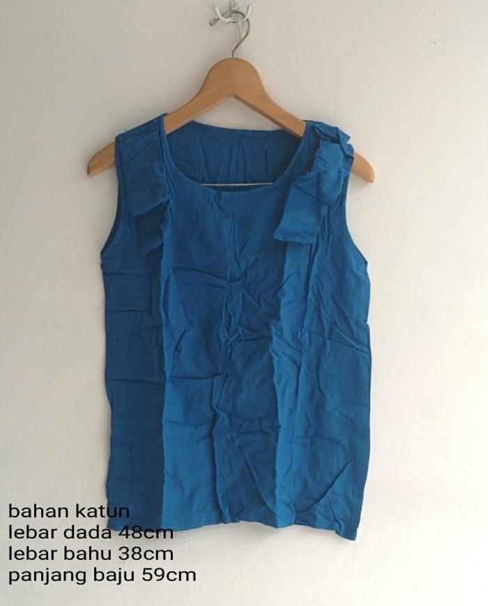 Foto Produk SALE  BLOUSE WANITA SIMPLE PITA BAHU ( BIRU KUNING ) KATUN ADEM KANTOR dari KPStore Fashion Online