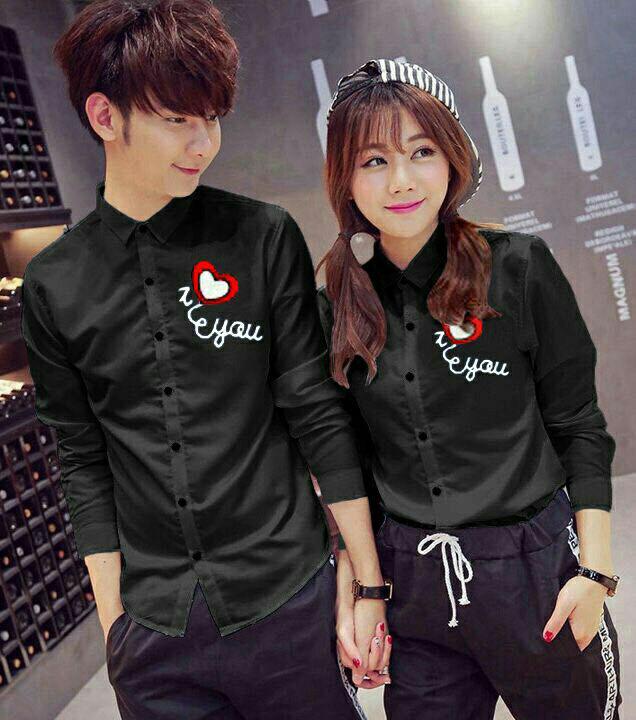 Kemeja Couple Lengan Panjang Baju Pasangan Hem love You Susan Black