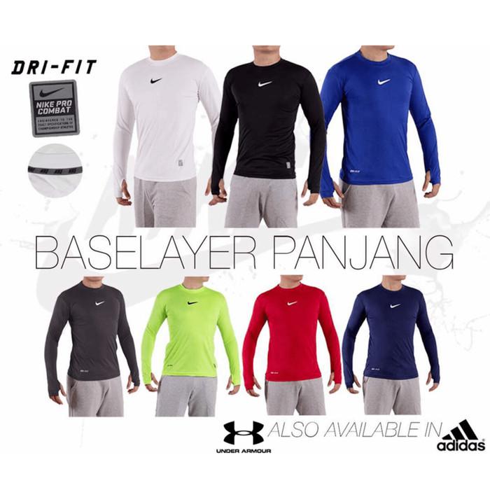 Baju Kaos Fitness / Fitnes / Lari / Futsal Lengan Panjang Nike Adidas