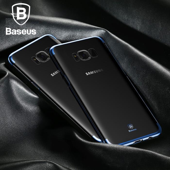 casing samsung galaxy s8 ultra-thin transparent hard back case cover - biru