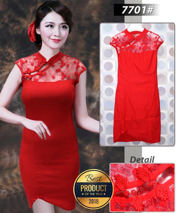harga Dress merah brukat imlek 7701# Tokopedia.com