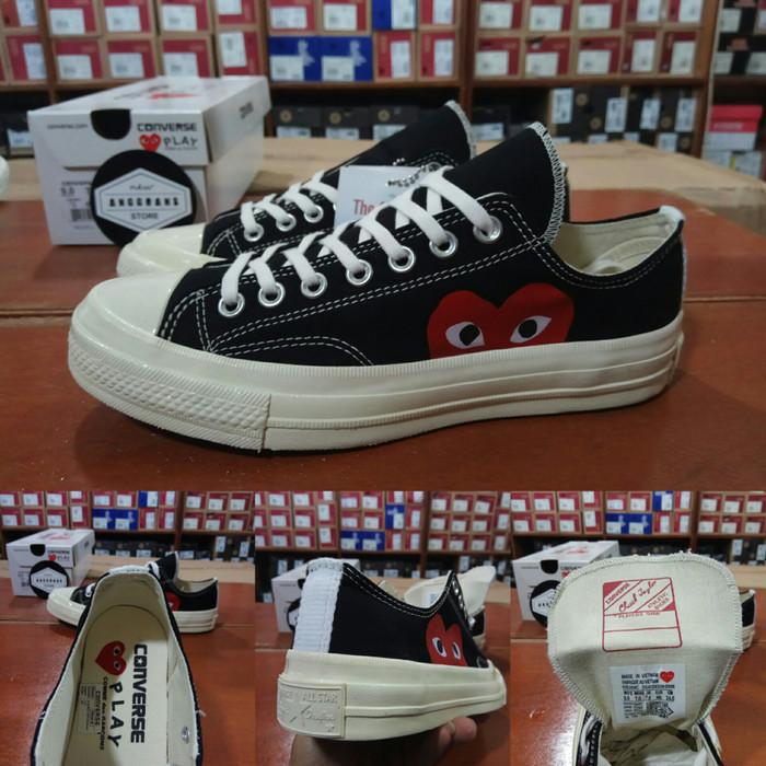 Sepatu Converse All Star 70s Seventies CDG Play Black Hitam White Low b293a4807c