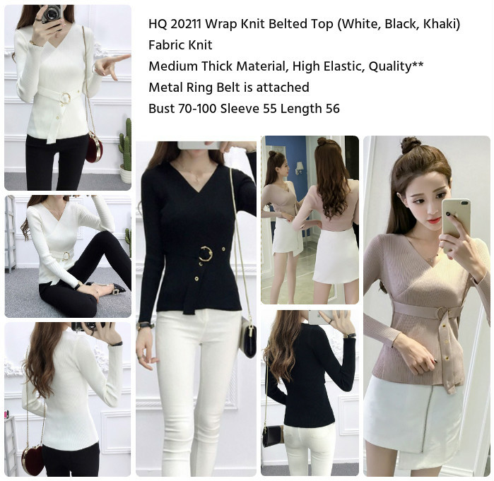 HQ 20211 Wrap Knit Belted Top