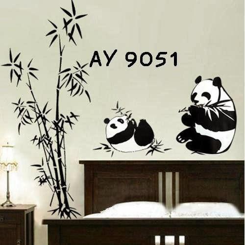 jual stiker dinding / wall sticker black panda ay9051 terbaru murah
