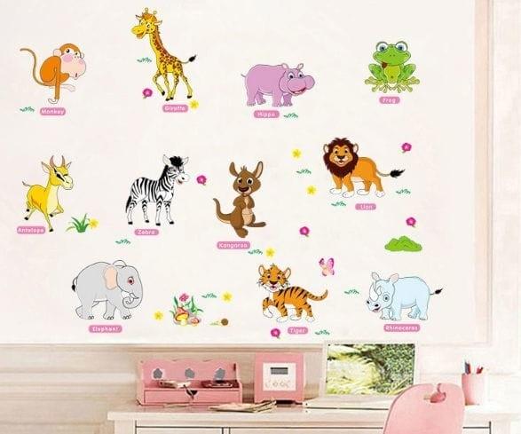 jual wall stiker/stiker dinding /wall sticker english animal cartoon