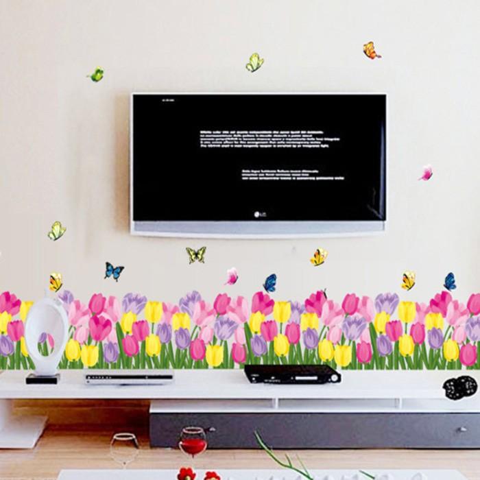 ... Stiker Dinding Wall Sticker Tulip Warna Warni AY7188 Terbaru Murah
