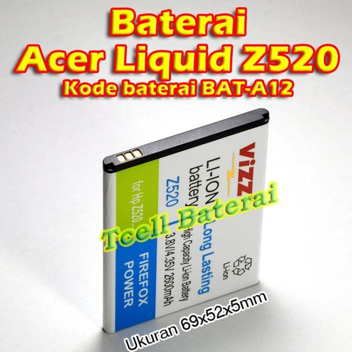Obral Vizz Double Power Battery For Mito A750 2000 MAh. Source · Baterai Acer Liquid