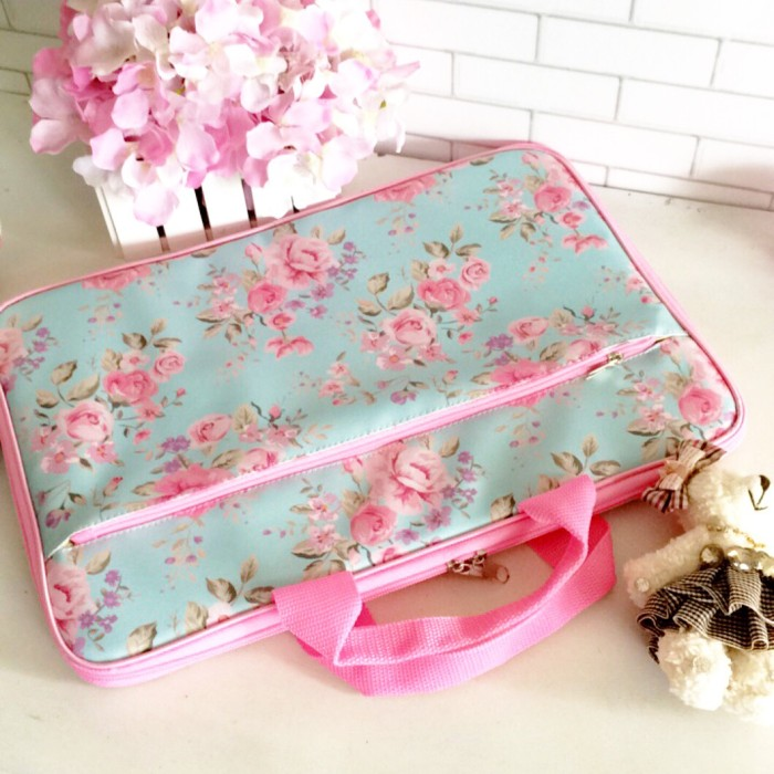 harga Tas laptop shabby chic, cover laptop flower mint Tokopedia.com