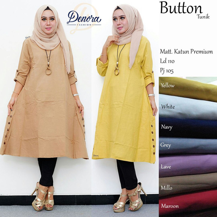 Baju wanita blouse tunik button muslim trendi lucu modis cantik