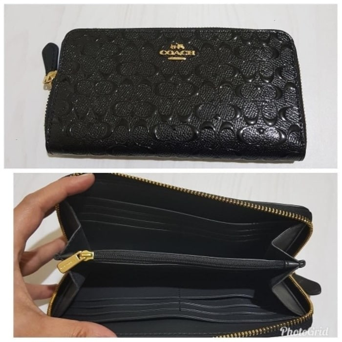 Jual Dompet Pria Coach Accordion Wallet Embossed Black ... 2c23a93d48