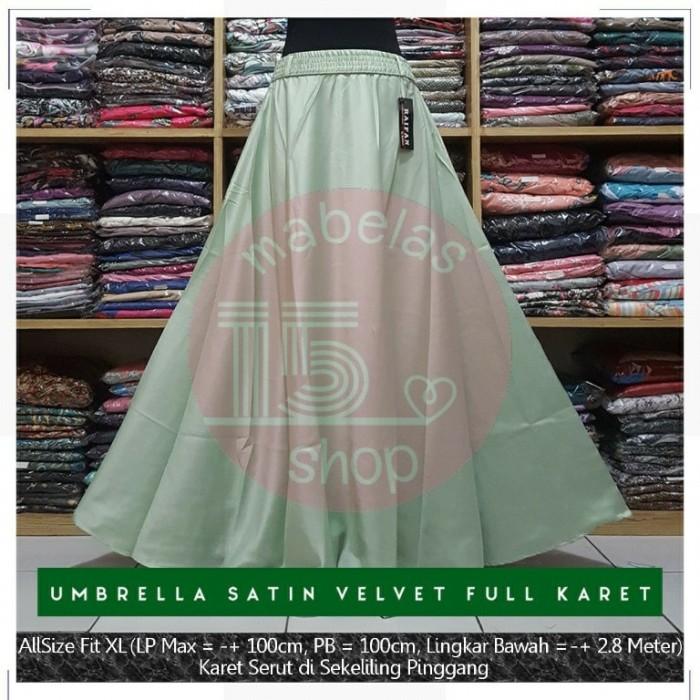 harga Rok payung satin velvet karet polos panjang maxi skirt hijau muda Tokopedia.com