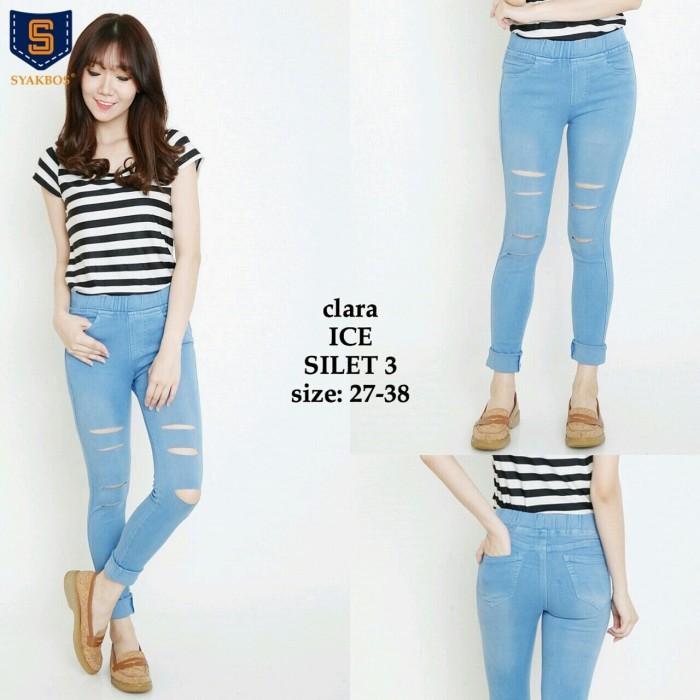 Celana Jeans Wanita SILET 3 LEGGING CLARA ICE BLUE Panjang 93cm
