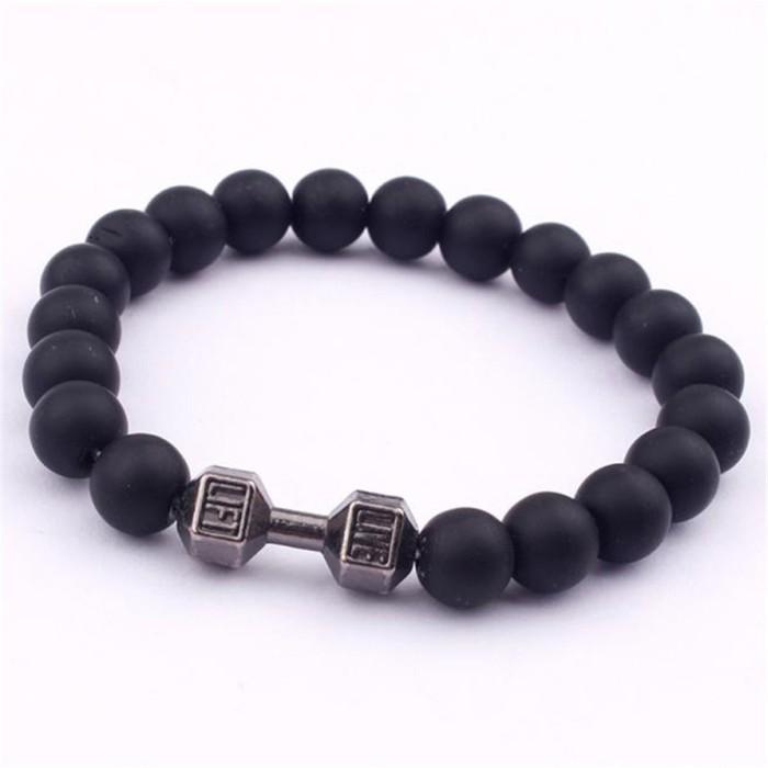 Foto Produk GG0090 Gelang Pria / Men Fashion Bracelet Beads Basic Stone Smooth dari Mooi Lashes