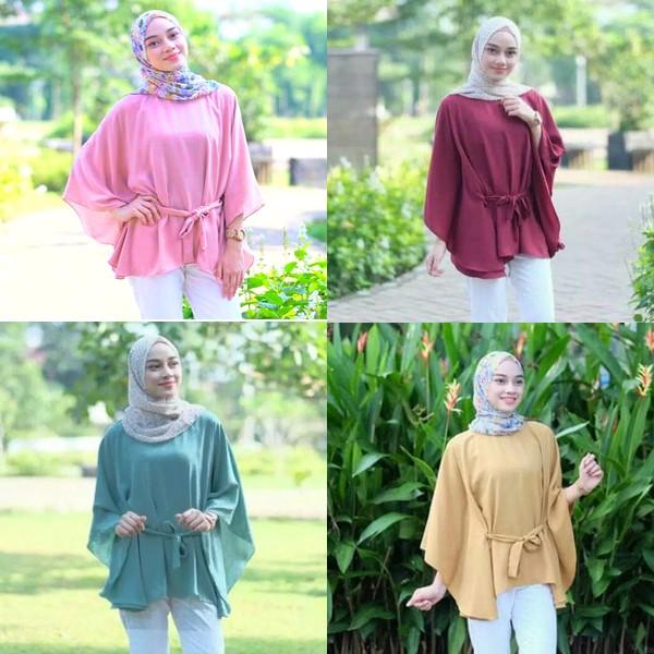 Baju Atasan Wanita Clove Blouse Tunik Baju Muslim Blus Muslim - Hijau Tosca