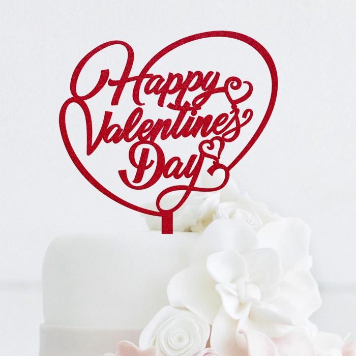 Jual Happy Valentine S Day Acrylic Cake Topper Kota Tangerang Selatan Merveille Shop Tokopedia