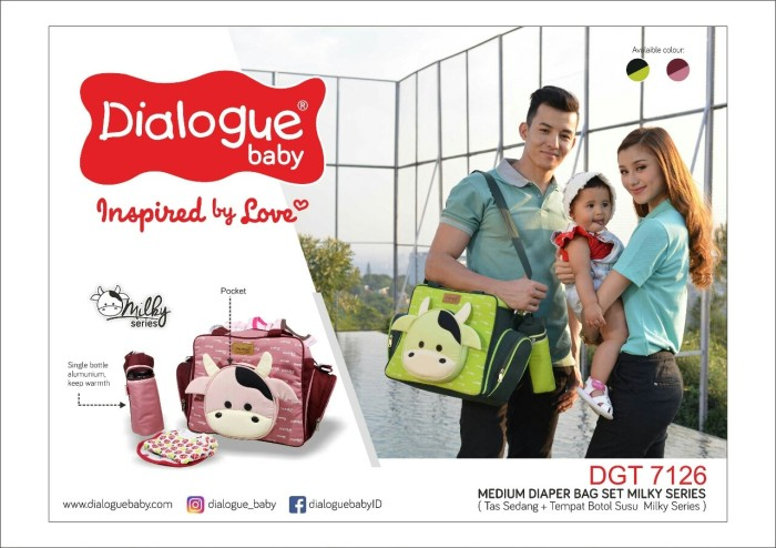 harga Dialogue baby tas medium diaper bag set milky series dgt 7126 Tokopedia.com