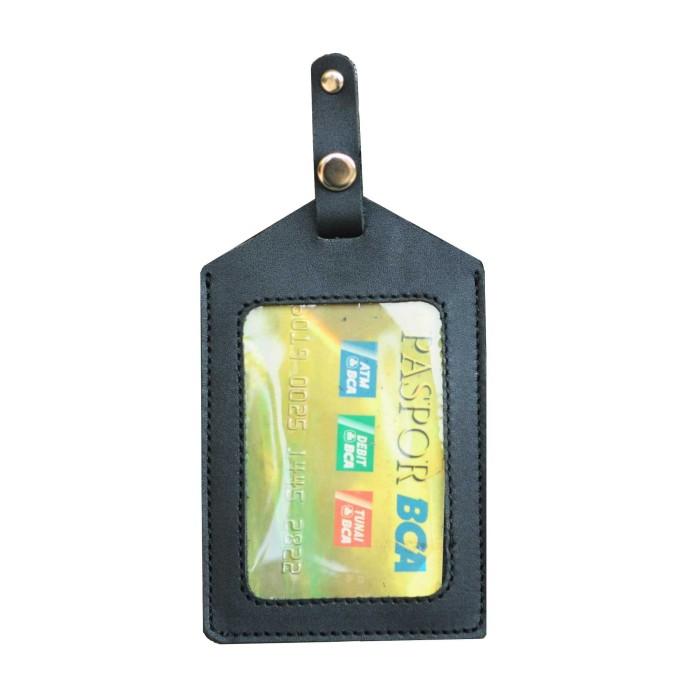 harga Id card holder name tag kulit hitam jepit saku kartu identitas Tokopedia.com