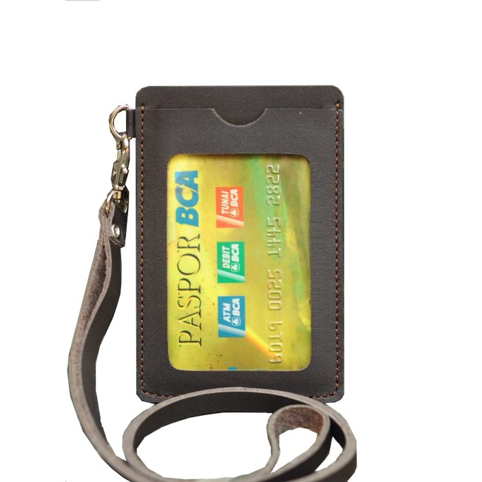 harga Id card holder name tag gantungan kalung kulit coklat tua Tokopedia.com