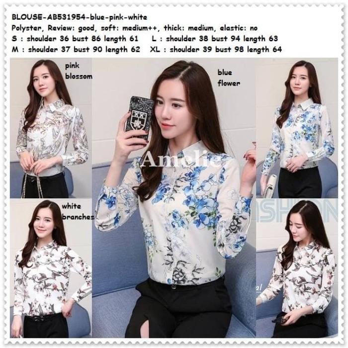 Baju atasan kerja kemeja lengan putih white blouse korea import…