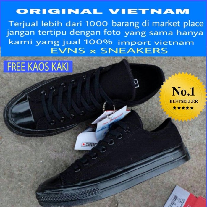 Jual SEPATU CONVERSE 70S LOW FULLBLACK - queen sneakers  2c87bcdd09