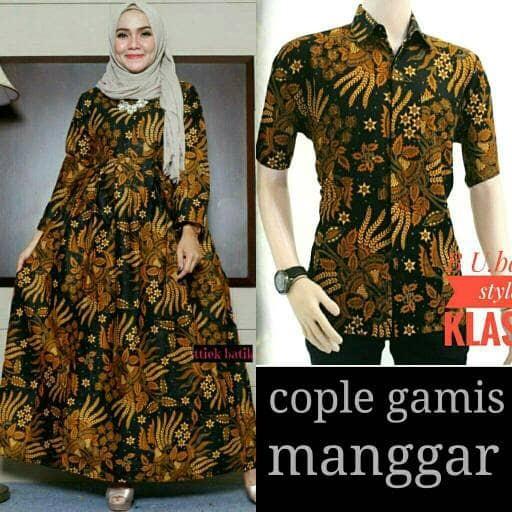 harga Baju batik couple kemeja dan gamis motif sogan manggar Tokopedia.com