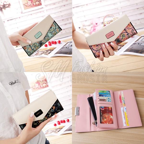 harga Dompet import kulit wanita motif batik bunga envelope model panjang Tokopedia.com
