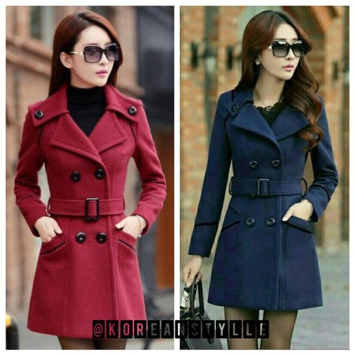 Info Harga Jaket Coat Mantel Baju Hangat Wanita Korea REDROSE Di ... f19b213ec7