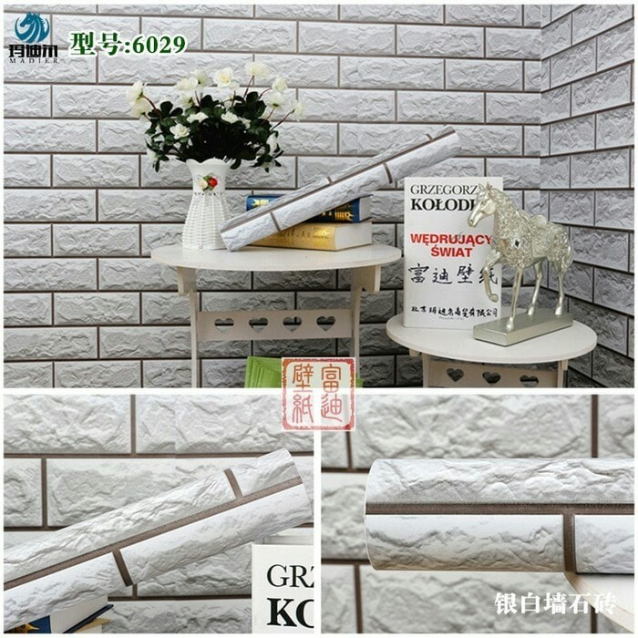 Foto Produk Wallpaper Bata block white 3D 45cm x 10mtr || Wallpaper Dinding dari dedengkot wallpaper