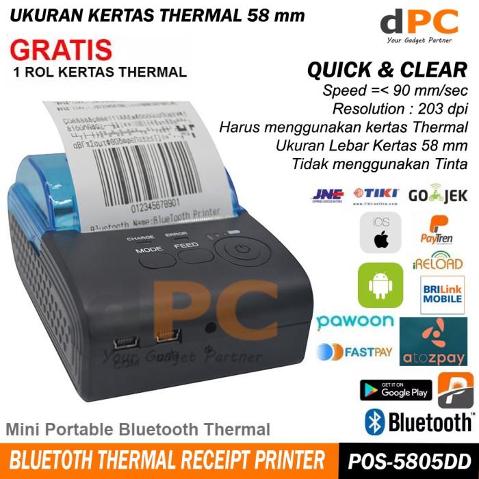 harga Pos-5805dd portable mini 58mm bluetooth thermal printer ios android Tokopedia.com