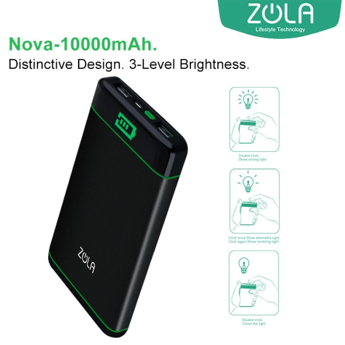 zola nova 10000 mah fast charging 2.1a powerbank - black