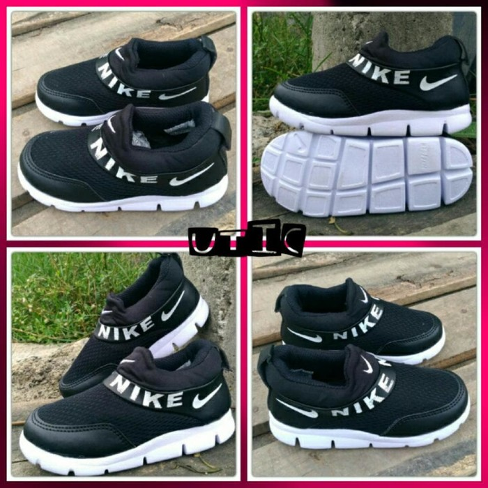 best model sepatu anak laki laki warna hitam model slip on Sekolah TK 93308012f9